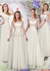 Lovely Champagne Laced Prom Dresses with Appliques