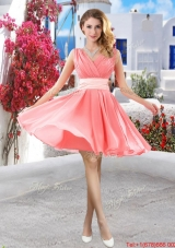 Perfect Short Belt and Ruched Dama Dresses in Watermelon
