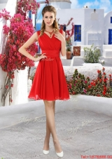 Simple Ruched Red V Neck Bridesmaid Dresses with Belt
