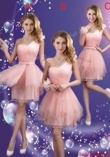 Popular One Shoulder and Belt Bridesmaid Dresses in Pink