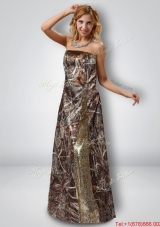 Beautiful Column Strapless Camo Prom Dresses with Sequins