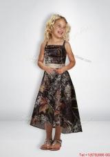 Elegant A Line Straps Tea Length New Arrival Flower Girl Dresses with Beading