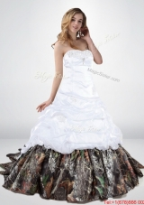 Perfect  and Elegant Lace Up Beaded Camo Wedding Dresses with Chapel Train
