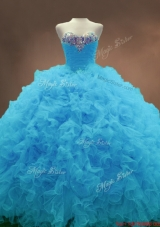 Beautiful Aqua Blue Ball Gown Quinceanera Gowns with Sweetheart