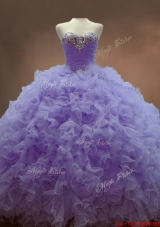 Classical Beaded Sweetheart Lavender Sweet 16 Gowns with Ball Gowns
