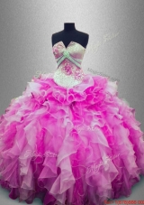 Discount Strapless Beaded Multi Color Sweet 16 Gowns with Ruffles