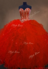 Pretty Red Sweetheart Quinceanera Gowns with Ruffles and Beading