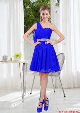 Custom Made One Shoulder Mini Length Prom Dresses in Royal Blue