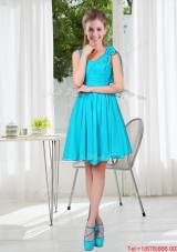 Short Straps Custom Made Dama Dress in Aqua Blue