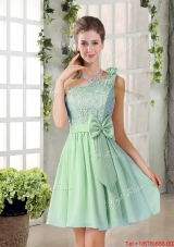 Custom Made One Shoulder Lace 2016 Prom Dresses with Bowknot
