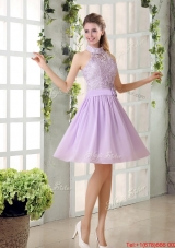 High Neck Lilac A Line Lace Prom Dress Chiffon for 2015