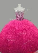 Puffy Sweetheart Hot Pink Quinceanera Dresses with Beading and Ruffles