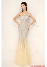 Elegant Champagne One Shoulder Prom Dresses with Side Zipper for 2016