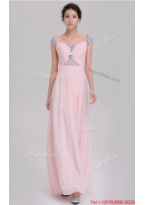 Elegant Empire Off The Shoulder Cap Sleeves Pink Prom Dresses with Beading
