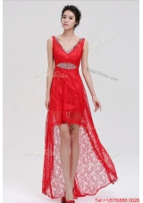 Pretty V Neck Laced and Beaded Red Prom Dresses with High Low