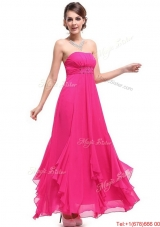 2016 Beautiful Ankle Length Hot Pink Prom Dresses with Beading