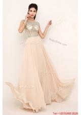 2016 Beautiful Beaded Bateau Prom Dresses with Brush Train