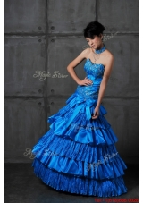 2016 Discount A Line Sweetheart Prom Dresses with Ruffled Layers