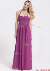 2016 Exquisite Halter Top Fuchsia Prom Dresses with Ruching