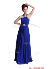 2016 Luxurious Empire Halter Top Prom Dresses with Beading in Royal Blue