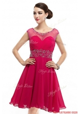 Beautiful Mini Length Scoop Hot Pink Prom Dresses with Cap Sleeves