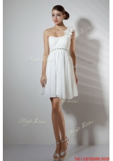 Elegant Empire One Shoulder Short Prom Dresses in White