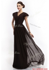 Hot Sale V Neck Ruching Empire Brush Train Prom Dresses in Black