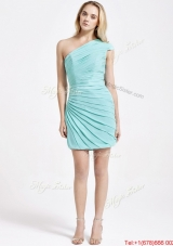 Romantic Short One Shoulder Ruching Prom Dress in Turquoise for 2016 Summer