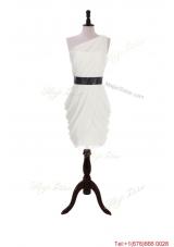 2016 Summer Column One Shoulder Belt Prom Dresses with Ruching