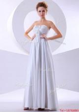 Elegant Hand Made Flowers Empire Prom Dresses in White for 2016