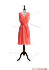Vintage Empire V Neck Prom Dresses with Sashes in Watermelon