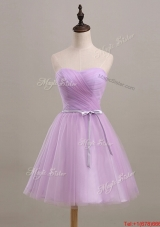 Vintage Ruching and Belt Short Prom Dresses in Lilac for 2016