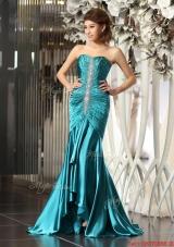 Luxurious Mermaid Brush Train Beaded Prom Dresses in Teal