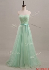Beautiful 2016 Summer Apple Green Prom Dresses with Sweep Train