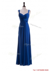 Custom Made Empire Straps Prom Dresses with Ruching in Blue for 2016