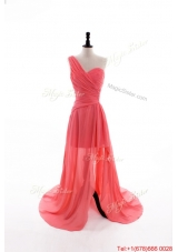 Gorgeous Column One Shoulder Watermelon Prom Dresses with Ruching