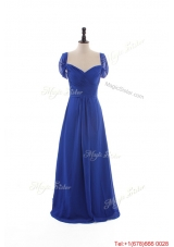 Gorgeous Empire Sweetheart Cap Sleeves Prom Dresses with Ruching