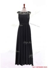 New Style Bateau Lace Long Prom Dresses in Black for 2016