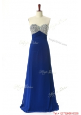 Perfect 2016 Beading Sweep Train Prom Dresses in Royal Blue