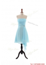 Popular Empire Strapless Ruching Prom Dresses with Beading for Holiday
