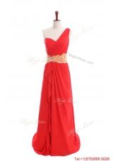 Sexy Appliques and Ruffles One Shoulder Prom Dresses with Sweep Train