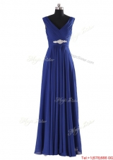 Simple V Neck Beading and Ruching Long Prom Dresses for 2016 Autumn