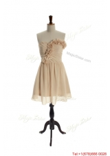 Vintage Hand Made Flowers Short Champagne Prom Dress for Homecoming