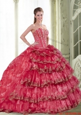 2015 Most Popular Coral Red Dress for Quinceanera with Pick Ups and Ruffled Layers
