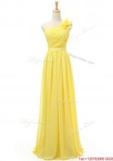 2016 Spring Affordable Empire One Shoulder Prom Dresses with Belt