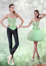 Detachable Beading and Ruffles Apple Green Prom Skirts for 2015
