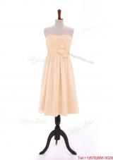 Discount 2016 Bowknot Peach Short Prom Dresses in Chiffon