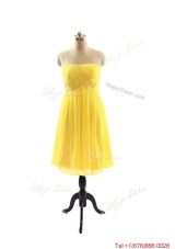 New Style Yellow Short Prom Dresses with Ruching for 2016