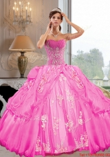 2015 Most Popular Strapless Ball Gown Quinceanera Dresses with Appliques