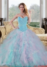 2015 Exquisite Sweetheart Multi Color Quinceanera Dresses with Beading and Ruffles